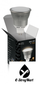 Лампа Gauss LED  MR16 8W GU5.3 AC220-240V 2700K FROST EB101105108